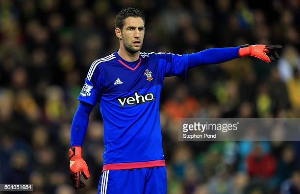 Maarten Stekelenburg of Southampton during the Barclays Premier League match between Norwich City and Southampton at Carrow Road stadium on January 2...