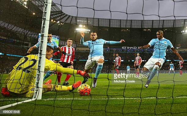 Maarten Stekelenburg of Southampton makes a save during the Barclays Premier League match between Manchester City and Southampton at the Etihad...