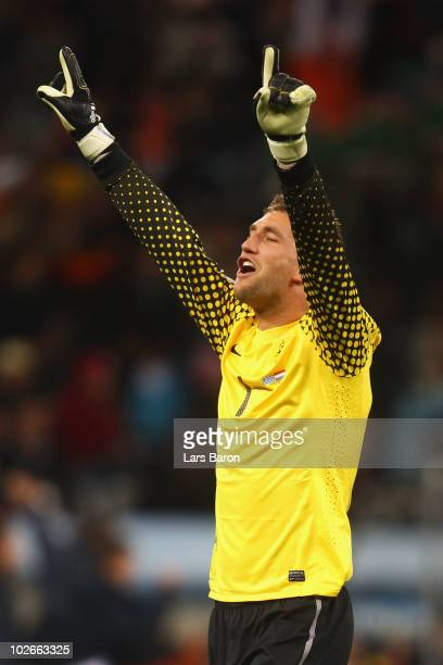 Maarten Stekelenburg of the Netherlands celebrates a goal during the 2010 FIFA World Cup South Africa Semi Final match between Uruguay and the...