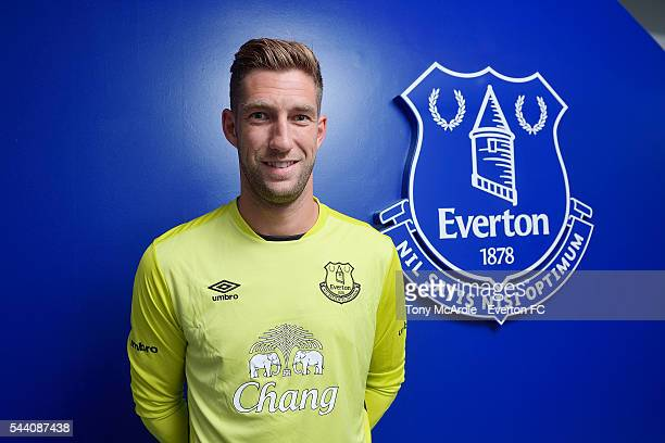 Maarten Stekelenburg poses for a photo after signing for Everton FC at Finch Farm on July 1 2016 in Halewood England