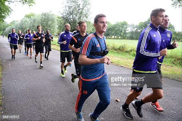 Maarten Thibaut of Rsc Anderlecht and Dendoncker Leander midfielder of Rsc Anderlecht pictured during the morning run of RSC Anderlecht at the...