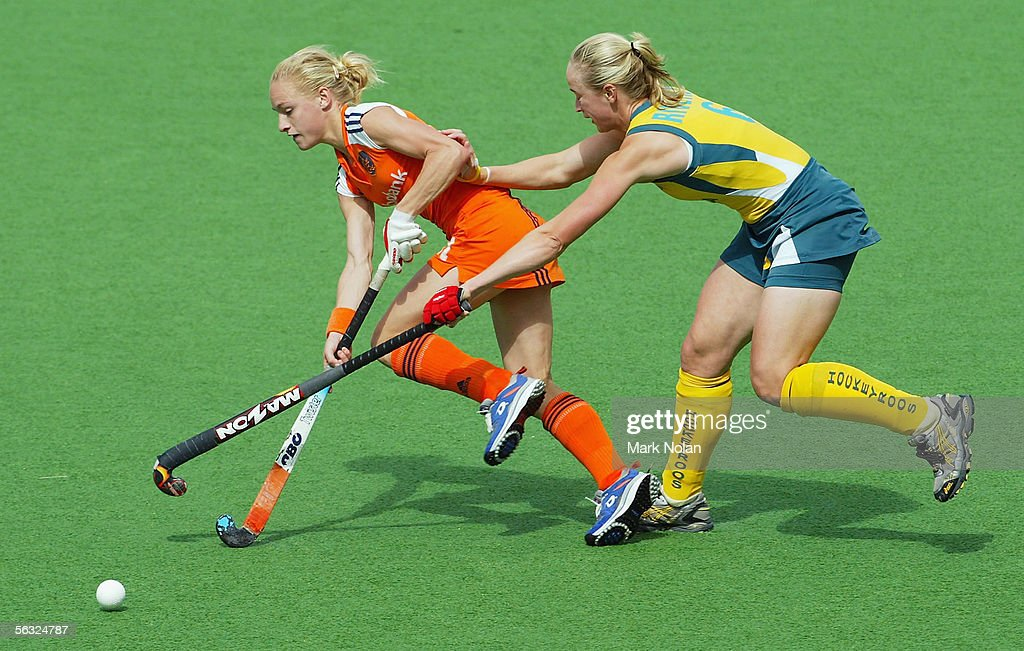Maartje Goderie of the Netherlands and Megan Rivers of Australia in action during the Women's Hockey Champions Trophy fifth round match between...