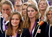 Maartje Paumen Kelly Jonker and Lidewij Welten of the Dutch women's hockey team watch a video of the 2012 London Olympic final match against...