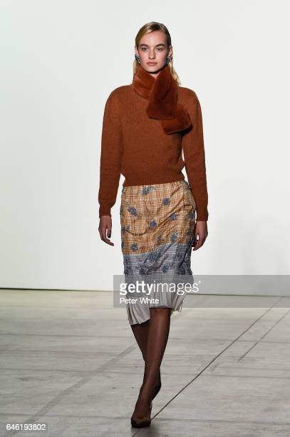 Maartje Verhoef walks the runway at Brock Collection Show during New York Fashion Week Fall Winter 20172018 at Gallery 2 Skylight Clarkson Sq on...