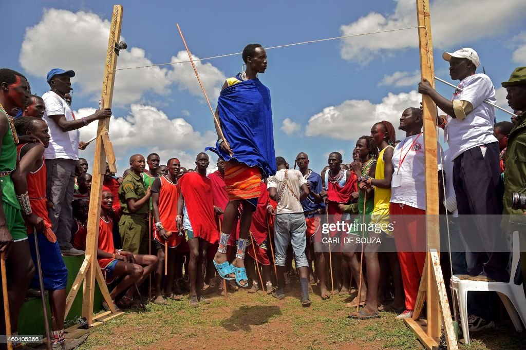 Maasai competitor takes part in the annual Maasai Olympics at the Sidai Oleng Kimana sanctuary in Kimani on December 13 2014 Leaping high into the...