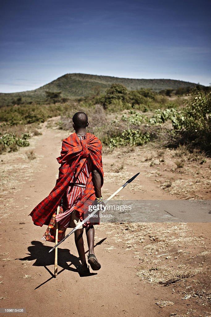 Maasai man walking on dirt road : Stock Photo