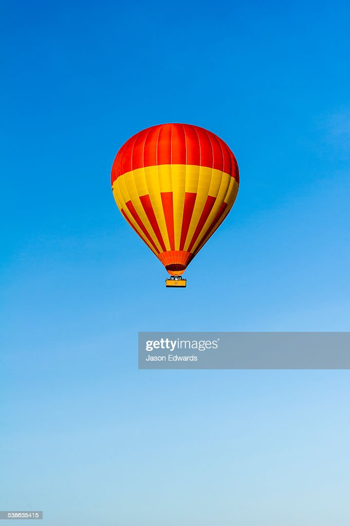 A hot air ballon floating in a clear blue sky above the African savannah.