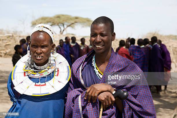 Maasai mother and son in traditional clotheing and jevellery, Tanzania.