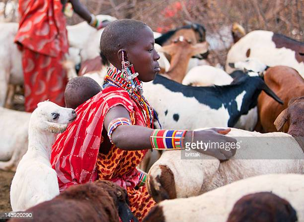 Maasai woman with baby on back and goats.