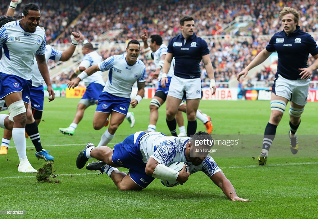 Ma'atulimanu Leiataua of Samoa scores the 2nd try during the 2015 Rugby World Cup Pool B match between Samoa and Scotland at St James' Park on...