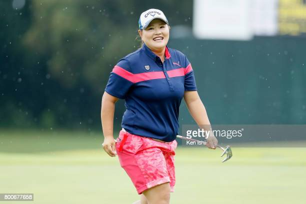 Maaya Suzuki of Japan is seen on the 18th green during the third/final round of the Yupiteru The Shizuoka Shimbun SBS Ladies at the Shizuoka Country...