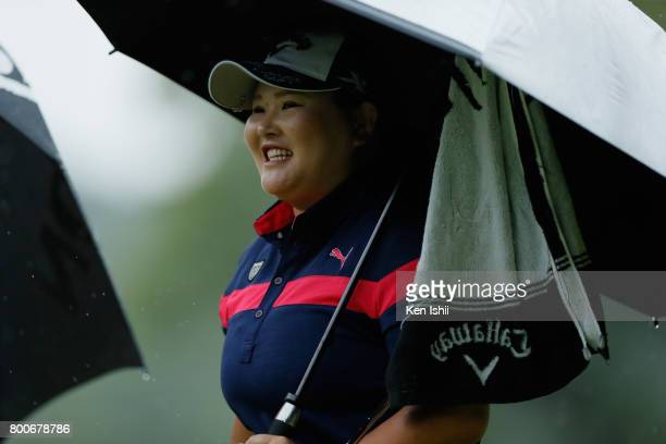 Maaya Suzuki of Japan reacts on the 9th green during the final round of the Yupiteru The Shizuoka Shimbun SBS Ladies at the Shizuoka Country Hamaoka...