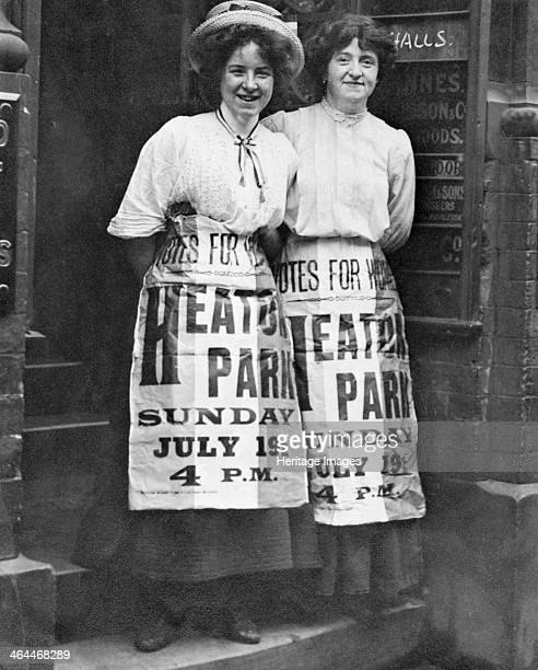 Mabel Capper and Patricia Woodlock advertising a 'monster' meeting to be held in Heaton Park Manchester Lancashire on 19th July 1908 Mabel Capper...