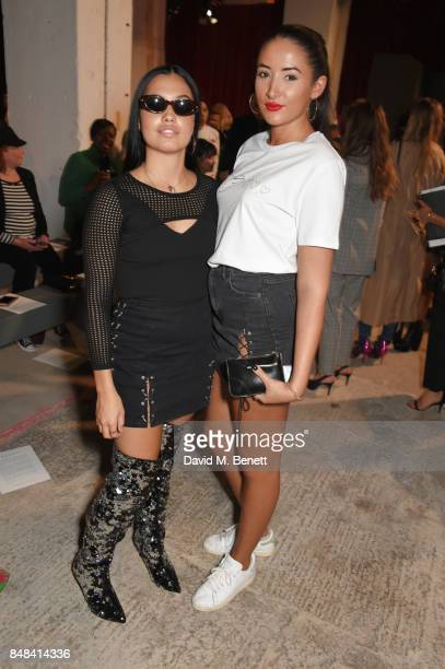 Mabel McVey and Cora Corre attend Topshop's London Fashion Week show on September 17 2017 in London England