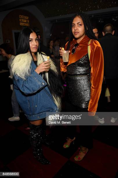 Mabel McVey and guest attend the Fashion East London Fashion Week party in association with Bumble at Moth Club on September 17 2017 in London England