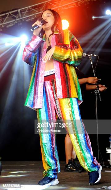 Mabel McVey performs live on stage during V Festival 2017 at Weston Park on August 19 2017 in Stafford England