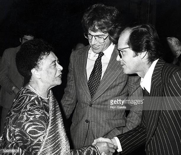 Mabel Mercer Warren Beatty and Jack Nicholson during Mabel Mercer in Concert at the Dorothy Chandler Pavillion in Los Angeles March 21 1978 at...