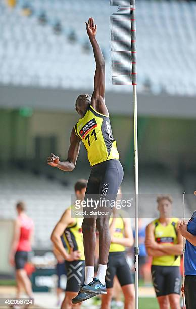 Mabior Chol jumps as he competes in the running vertical jump during the 2015 AFL Draft Combine at Etihad Stadium on October 10 2015 in Melbourne...