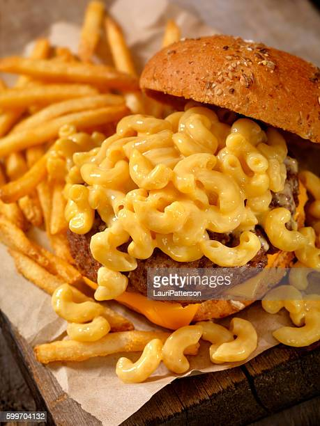 Mac and Cheese Burger with French Fries