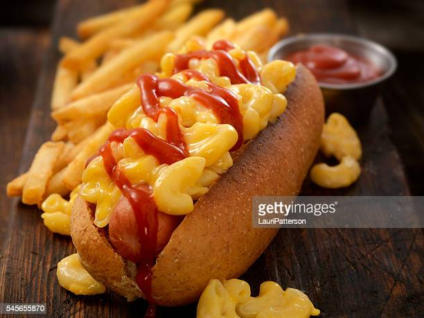 Mac and Cheese Dog With Fries and Ketchup