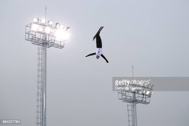 Mac Bohonnon of the United States performs an aerial during an Aerials training session prior to the FIS Freestyle World Cup at Bokwang Snow Park on...