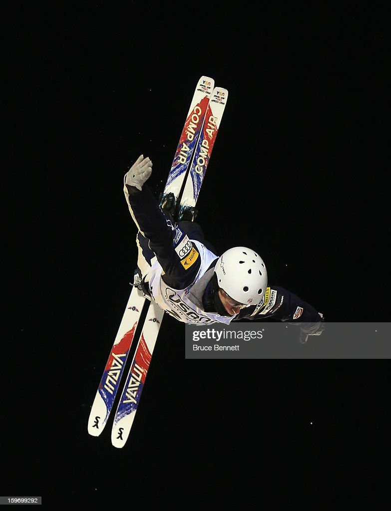 Mac Bohonnon #21 of the USA jumps during the qualification round in the USANA Freestyle World Cup aerial competition at the Lake Placid Olympic Jumping Complex on January 18, 2013 in Lake Placid, New York.