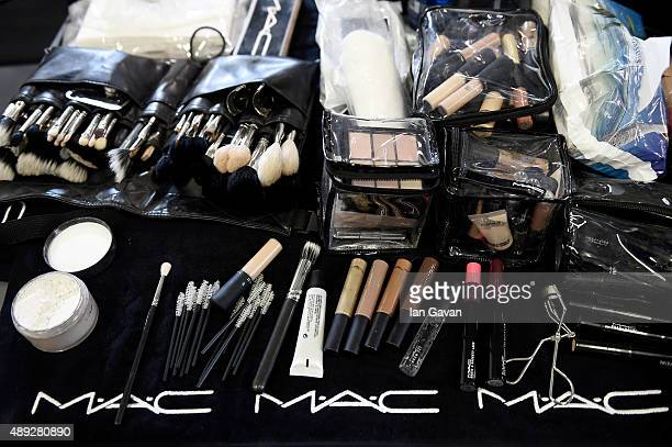 Mac makeup is seen backstage ahead of the Versus show during London Fashion Week Spring/Summer 2016 on September 19 2015 in London England