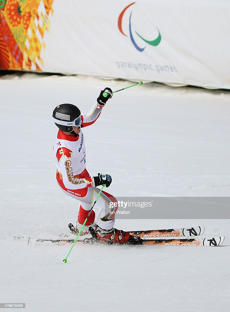 Mac Marcoux of Canada celebrates in the Men's Giant Slalom Visually Impaired during day eight of the Sochi 2014 Paralympic Winter Games at Rosa Khutor Alpine Center on March 15, 2014 in Sochi, Russia.