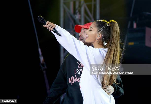 Mac Miller and Ariana Grande on stage during the One Love Manchester Benefit Concert at Old Trafford Cricket Ground on June 4 2017 in Manchester...