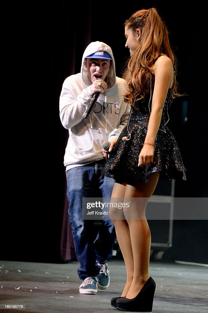 Mac Miller and Ariana Grande performs at Club Nokia on September 9, 2013 in Los Angeles, California.