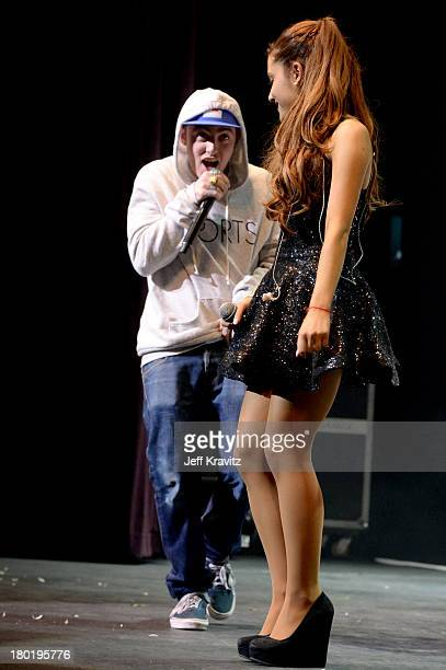 Mac Miller and Ariana Grande performs at Club Nokia on September 9 2013 in Los Angeles California