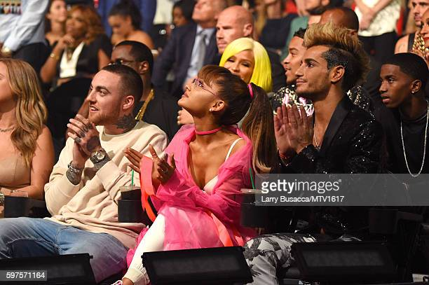 Mac Miller Ariana Grande and Frankie Grande attend the 2016 MTV Video Music Awards at Madison Square Garden on August 28 2016 in New York City