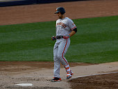 Mac Williamson of the San Francisco Giants scores on a solo home run in the fifth inning against the New York Yankees on July 23 2016 at Yankee...