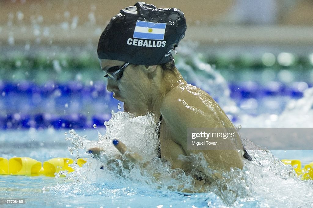 Macarena Ceballos of Argentina competes in womens 100m breaststroke final event during day four of the X South American Games Santiago 2014 at Centro Acuatico Estadio Nacional on March 10, 2014 in Santiago, Chile.