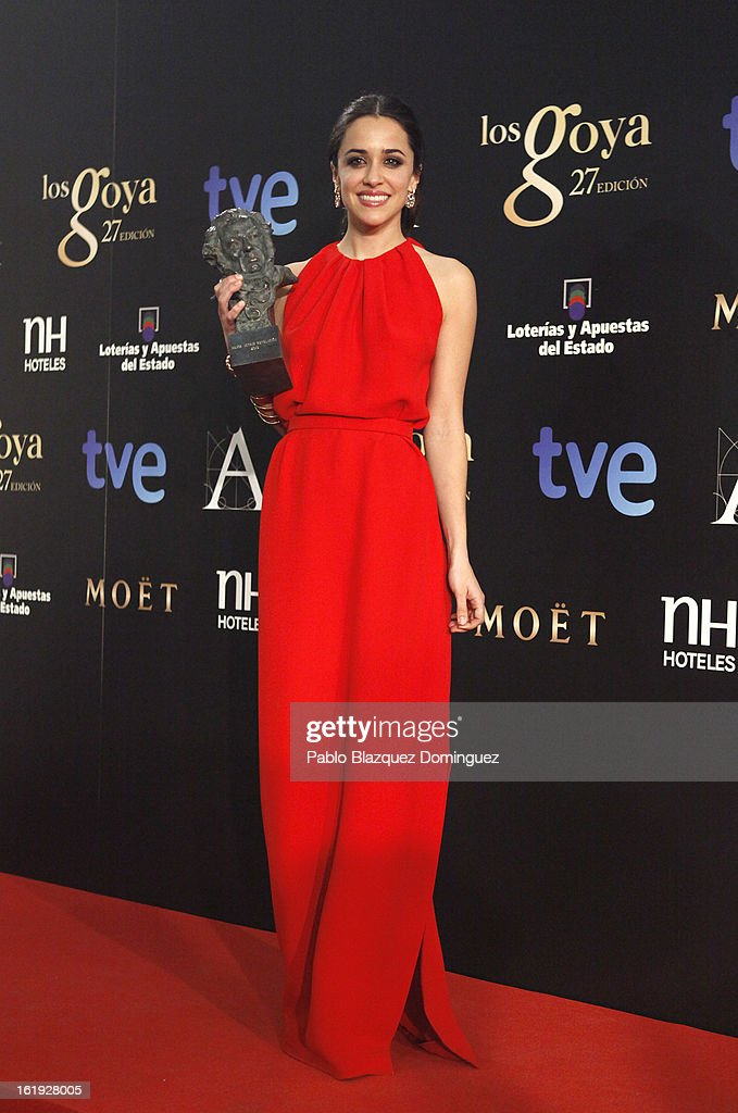 Macarena Garcia holds the award for Best New Actress in the film 'Blancanieves' during the 2013 edition of the 'Goya Cinema Awards' ceremony at Centro de Congresos Principe Felipe on February 17, 2013 in Madrid, Spain.