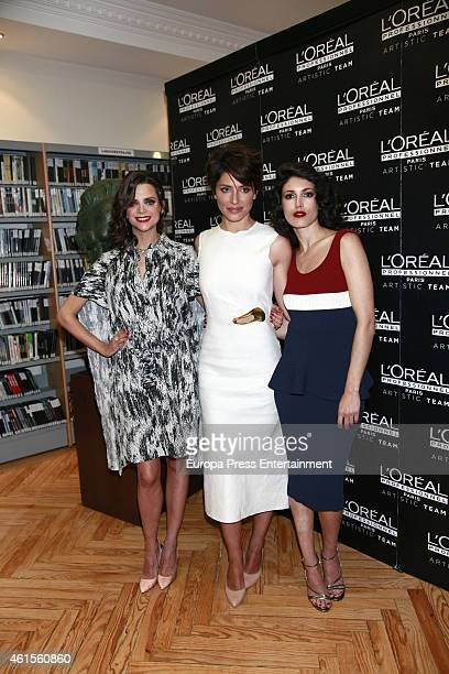 Macarena Gomez Barbara Lennie and Nerea Barros present the hairstyles by L'Oreal Professionnel for 2015 Goya Awards at Spanish Cinema Academy on...