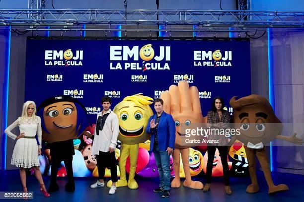 Macarena Gomez Quim Gutierrez Carlos Latre and Mario Vaquerizo attend 'Emoji La Pelicula' photocall at La Casa del Lector on July 25 2017 in Madrid...
