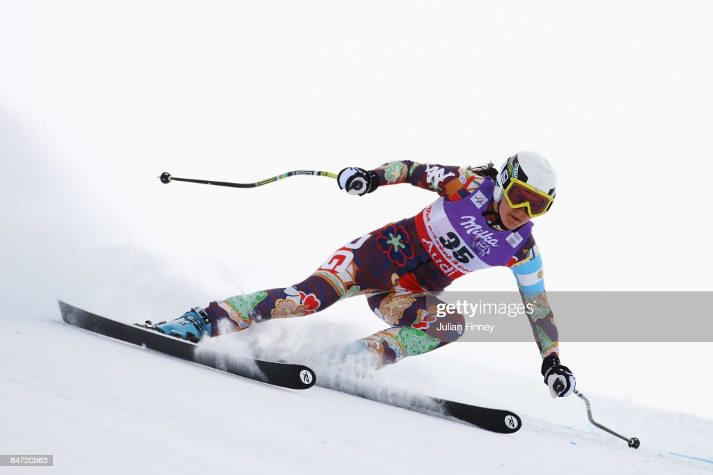 Macarena Simari Birkner of Argentina skis during the Women's Downhill event held on the Face de Solaise course on February 9, 2009 in Val d'Isere, France.