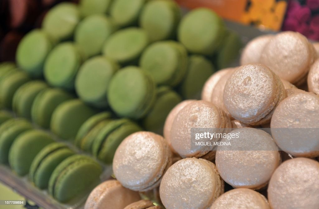 Macaroon are displayed at a shop of French gourmet food company Fauchon, on December 6, 2012 in Paris.