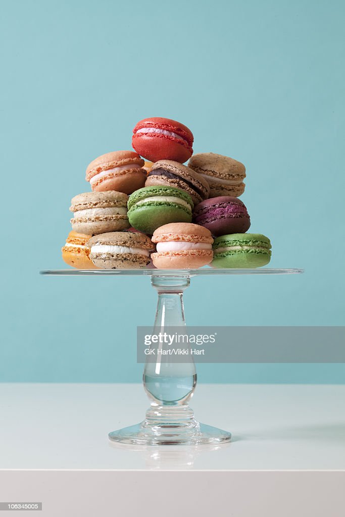 Macaroon Cookies on teal background : Stock Photo