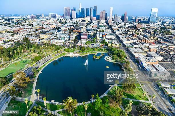 MacArthur Park Los Angeles California - aerial view