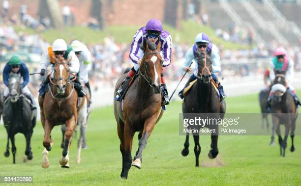 CROP** Macarthur ridden by Johnny Murtagh wins The Blue Square Ormonde Stakes during the Blue Square City Day at Chester Racecourse