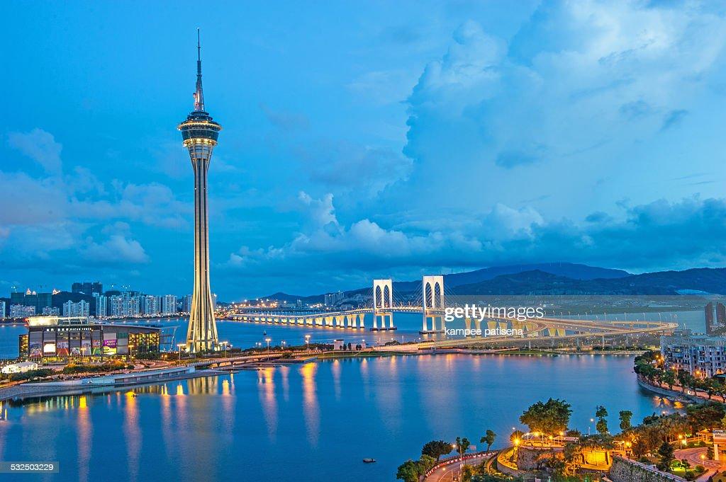 Macau Tower at blue hour