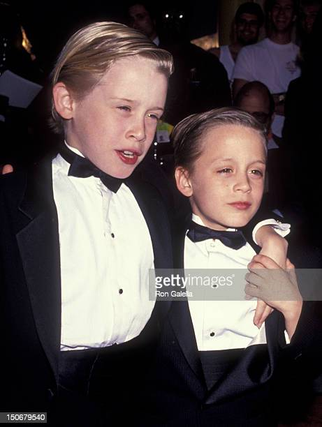 Macaulay Culkin and Kieran Culkin attend Fifth Annual American Comedy Awards on March 9 1991 at the Shrine Auditorium in Los Angeles California