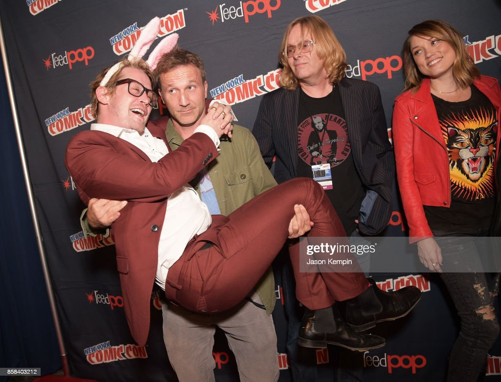 Macaulay Culkin, Breckin Meyer, Tom Sheppard and Clare Grant pose for a photo at the Robot Chicken Panel during New York Comic Con 2017 -JK at Hammerstein Ballroom on October 6, 2017 in New York City. 27356_002