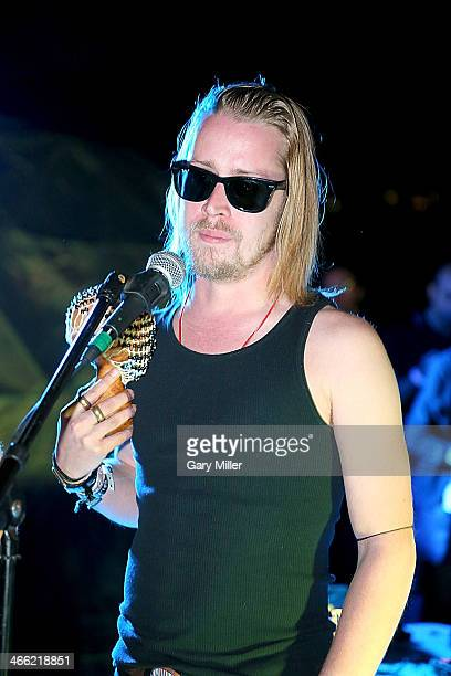 Macaulay Culkin performs with Pizza Underground at Unconventional Oven on January 31 2014 in Austin Texas
