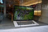 MacBook Pro model display in the window of the Apple Store in Chicago Illinois on SEPTEMBER 16 2012