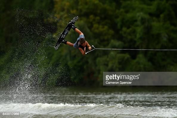 Macca Needham competes in the 1014 Boys NSW Wakeboarding State Titles at Govenor Phillip Park Windsor on February 26 2017 in Sydney Australia