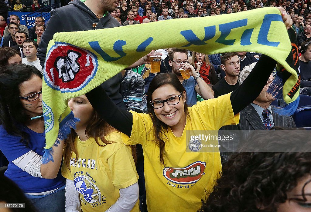 Maccabi Electra Tel Aviv supporters in action during the 2013-2014 Turkish Airlines Euroleague Regular Season Date 4 game between Lietuvos Rytas Vilnius v Maccabi Electra Tel Aviv at Siemens Arena on November 7, 2013 in Vilnius, Lithuania.