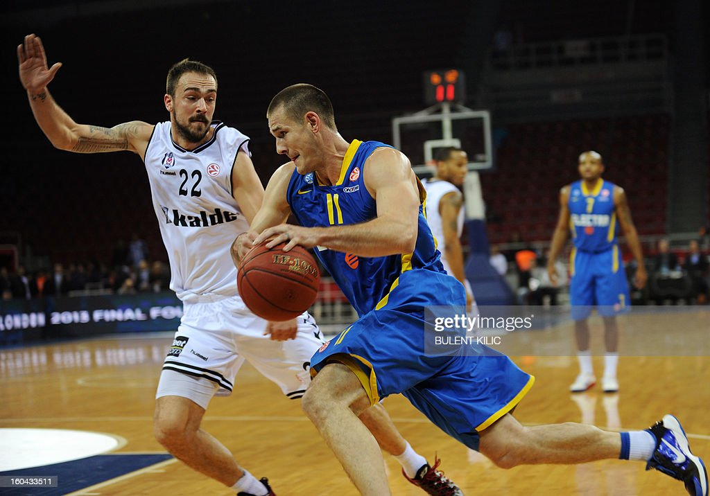 Maccabi Electra Tel Aviv`s s Medley Caner (R) vies for the ball with Besiktas`s Damir Markota (L) during the Euroleague basketball match between Maccabi Electra Tel Aviv and Besiktas at the Abdi Ipekci Sports Hall in Istanbul on January 31, 2013.